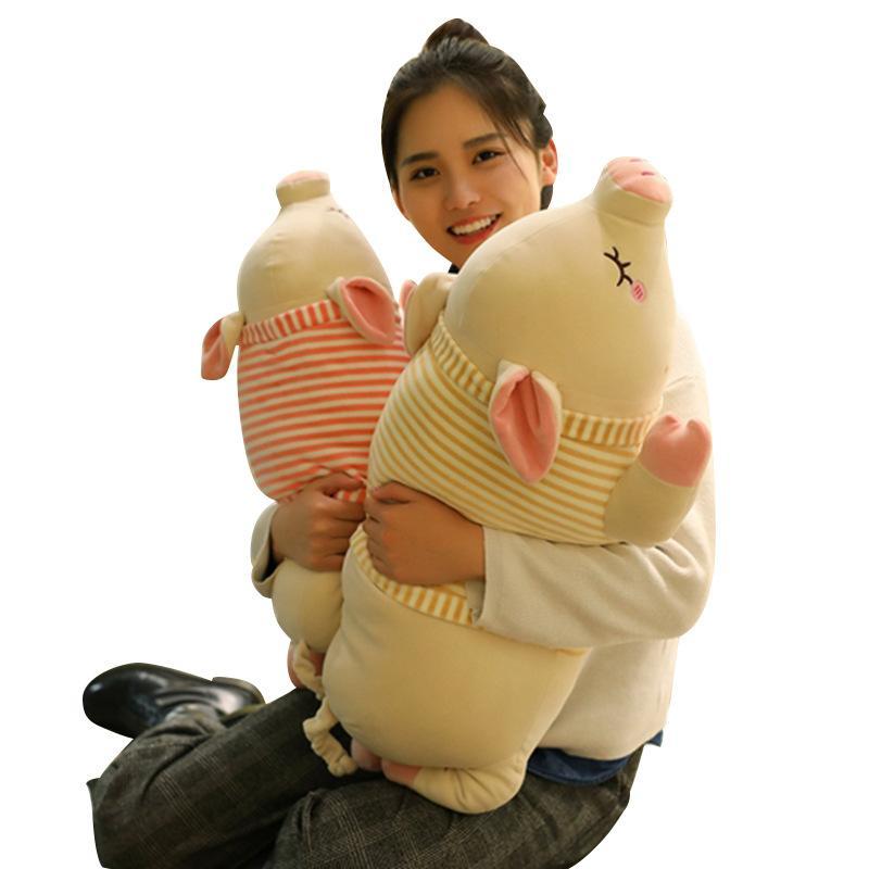 Pigleto de rayas suave peluche juguete cerdo muchacho muñeca muñeca almohada almohada gordo cerdo muñeca regalo de cumpleaños