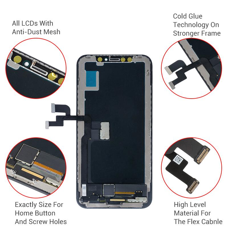 أعلى جودة اللمس لوحات تستخدم لإصلاح شاشات LCD مكسورة استبدال الجمعية محول الأرقام لعرض شاشة LCDS iPhone X