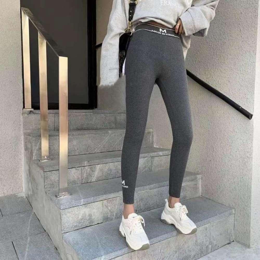 Autunno Inverno Nuova Vita alta Vita Slim Fit Donna Leggings Peluche Addensare Calda Legging LEGGING LEGGING Lettera Ricamo Pantalone da fondo elastici