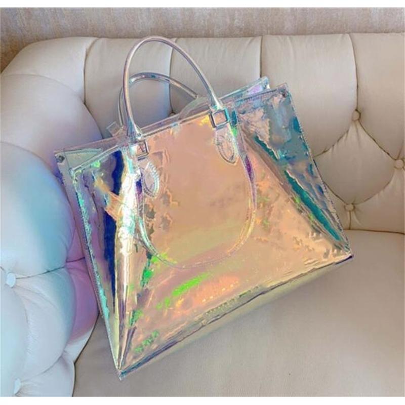DAZZLE RAINBOW UOMO DONNA DONNA CLEAR HANDBAGS FRIZIONE Laser Laser Flash PVC frizioni Borse Borse Trasparenti Borsone Brillante Brilliant Bag