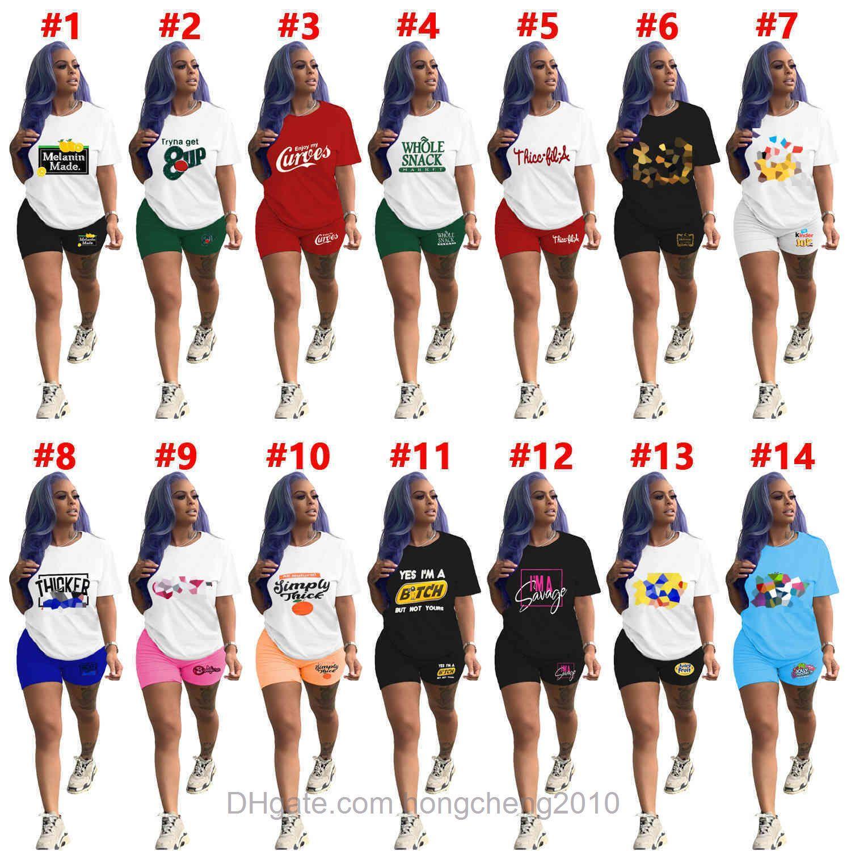 Talla grande Mujeres Sports Tritsuits Verano Conjuntos de dos piezas Número de letra Impreso Camiseta de manga corta Lulu Shorts Ladies Jogger Trajes de jogger