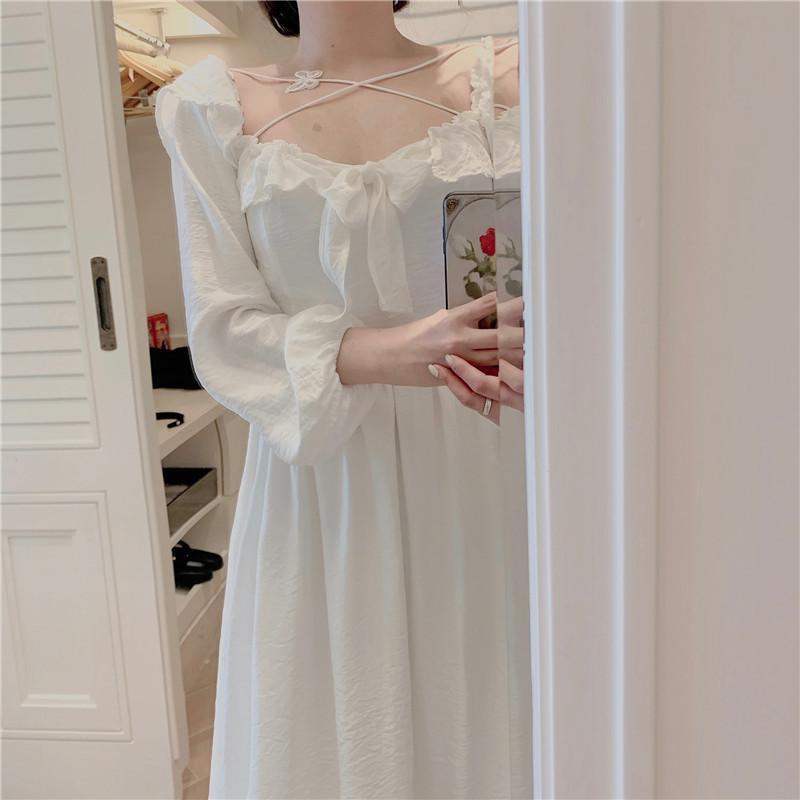 Spring Fairy Style Primeira Saia Amor Branco Grande Saia Quadrada Colar Cross Borboleta Vestido de Borboleta Saia Longa para Mulheres