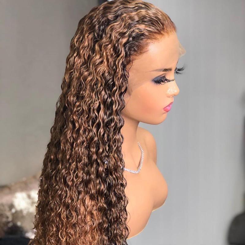 Parrucche di pizzo Crisselino Ombre Kinky Parrucca anteriore riccio Virgin Virgin Virgin HD HD HD BOB Allentato i capelli umani
