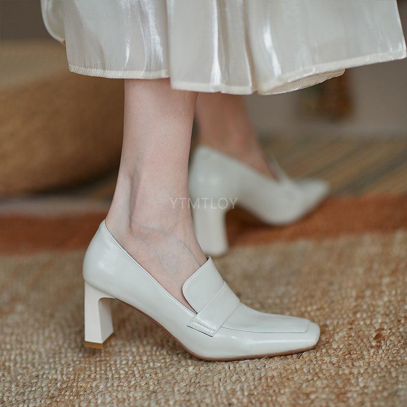 Bombas de tacones altos Mujer Plaza de pies Plaza de pie Zapatos de cuero Femenino Slip en zapatos Primavera 2021 NUEVO ZAPATOS TACON