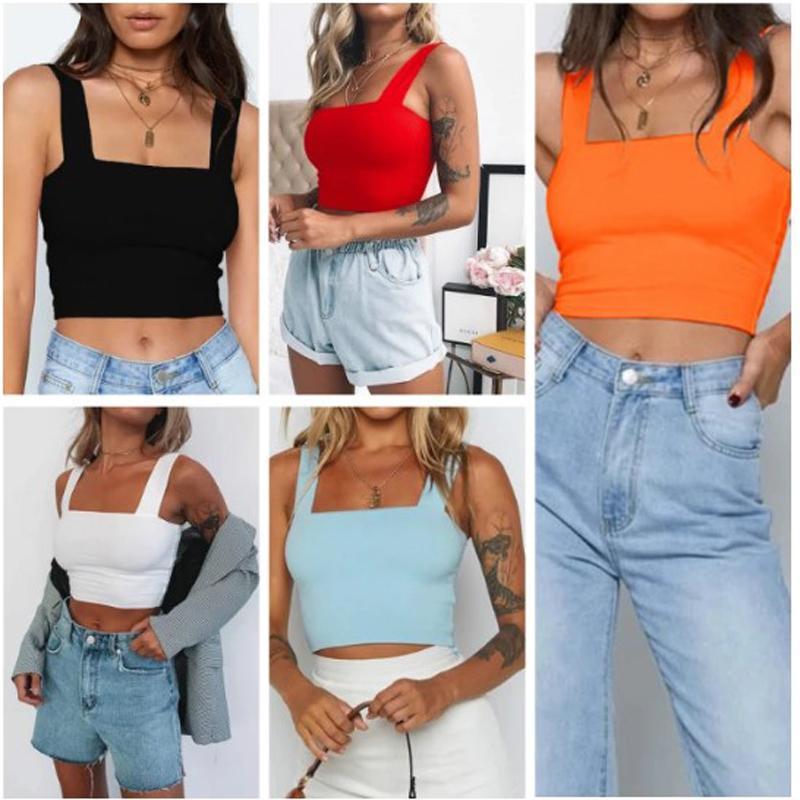 Roupas femininas verão moda top mulheres camiseta quadrado pescoço sexy colheita streetwear sólido para p sem mangas tanque