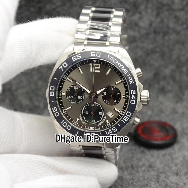 Formule 1 F1 F1 F1 F1 F1 F1 Miyota Quartz Chronographe Montre Grey Cadran Noir Sous-secteur Deux tons En Acier Inoxydable Bracelet Chronomètre Puretime Z06B2