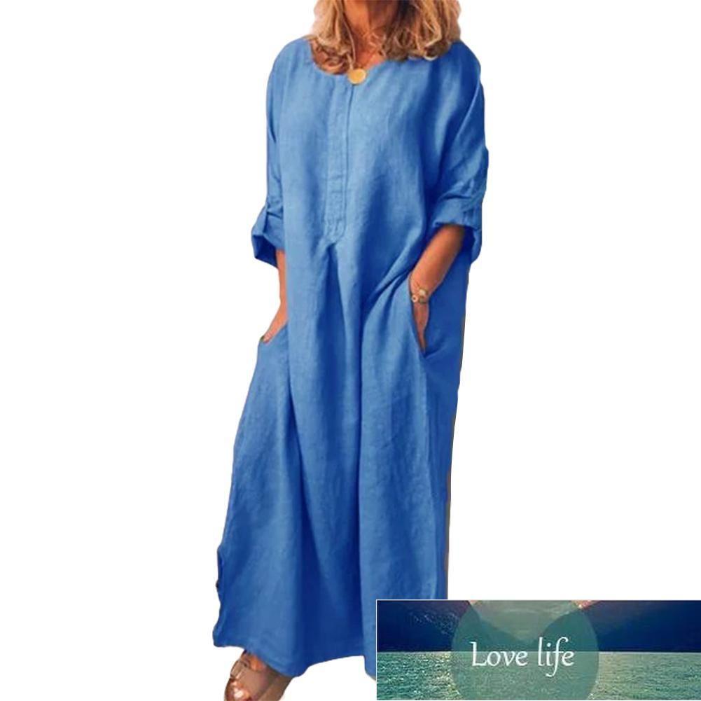 Casual Women Solid Color Oversize Maxi Cotton Linen Long Shirt KaftanDress Oversize Maxi Cotton Linen Long Shirt KaftanDress