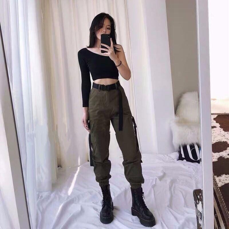 Frauen Hosen Capris Latimeelon Fracht Frauen Solide Taschen Streetwear Mode Koreaner Student Casual Pantalon Femme Frühlingshose 13655