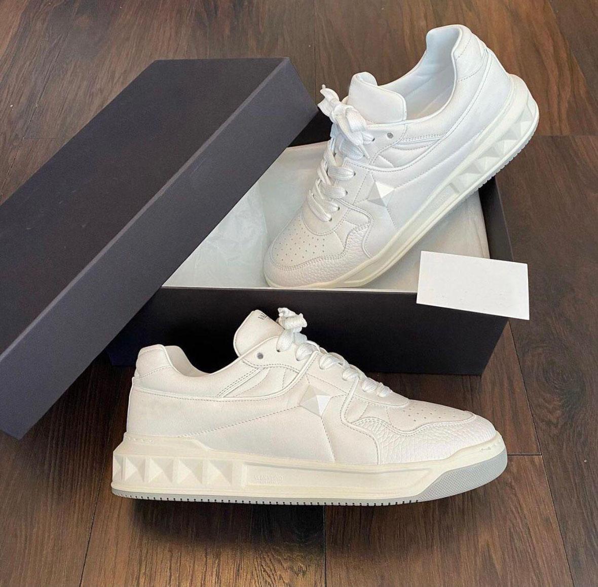 Mükemmel Çift Spor Rahat Ayakkabılar Marka Çivili Sneaker One Saplama Düşük Üst Dolaşık Sneakers Kaya Çiviler Nappa Deri Açık Erkek Kadın Lüks Eğitmen Konfor Yürüyüşü