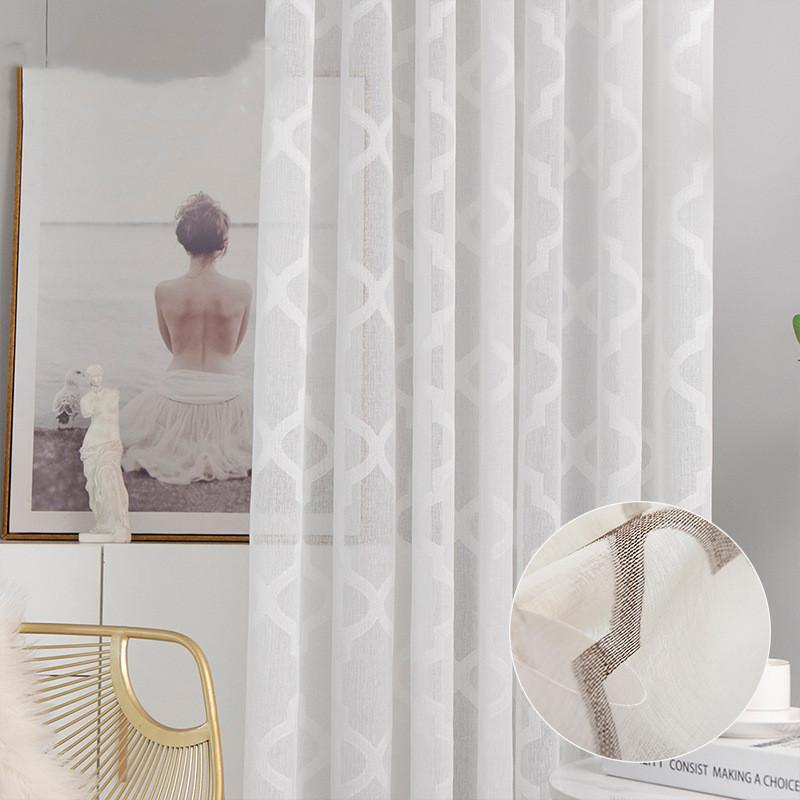 Curtain & Drapes Nordic White Sheer Curtains For Living Room Bedroom Geometric Printed Tulle Kitchen Voile Blind Panels