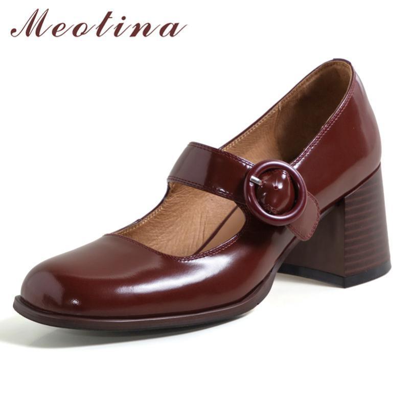 Meotina Real Leather High Heaver Mary Janes Sapatos Fivela Fivela Square Toe Mulheres Bombas Chunky Heels Vestido Senhora Primavera 2021