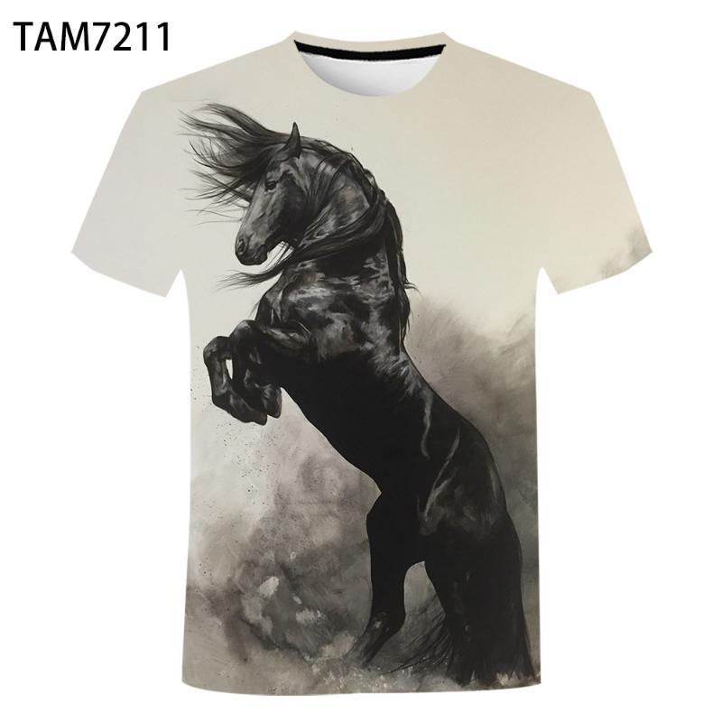 Cavalo Design Camiseta Homens Verão 3D Casua Engraçado Roupas Urbanas Oversized Children's Harajuku Cute Animal Top Dos Homens T-Shirts