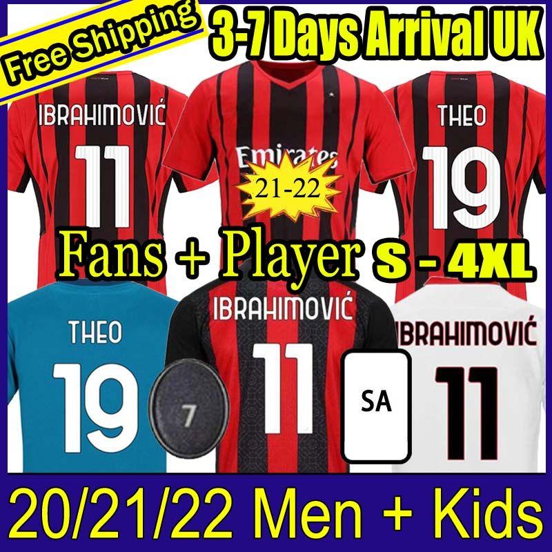 태국 20 21 22 팬 플레이어 버전 AC 축구 밀라노 Ibrahimovic Jerseys 2021 Tonali Mandzukic 축구 셔츠 세트 Kessie Brahim 남자 키트 제복