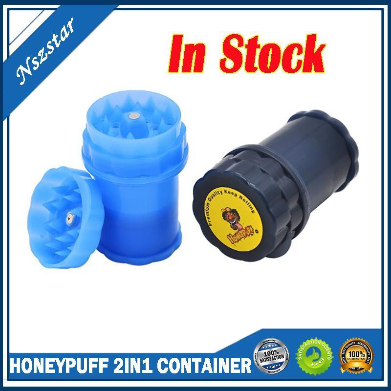 HoneyPuff 2in1 컨테이너 3 부품 플라스틱 그라인더 허브 그라인더 마른 초본 흡연 도구 보관함에 대 한 흡연 허브 손 mullerherb 그라인더