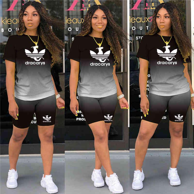 Two Pieces Sets Women Tracksuits Gradient Short Sleeve Tops + Jogger Shorts Leggings Suit Sporty Fitness Outfit 2021 Summer