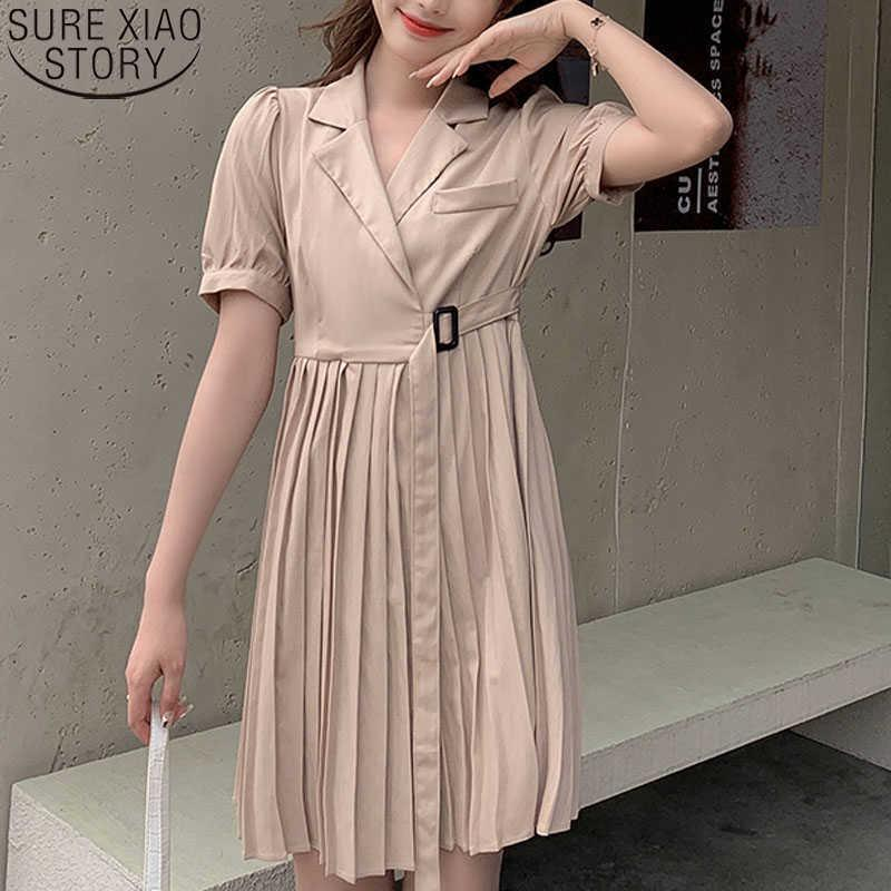 Women's Summer Dress Suit Pleated Sweet Party Dress Women Elegant Robe V Neck French Style Dresses Good Quality 14103 210527