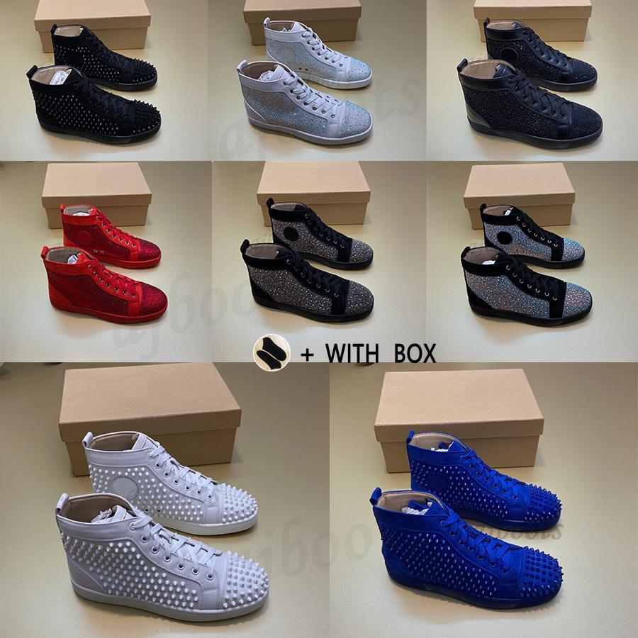 2021 الرجال النساء الأحمر أسفل الفاخرة أحذية رياضية رصع مصمم الأحذية ل الأعلى الأسود الأبيض المسامير جلد طبيعي عارضة برشام سنيكر #xc