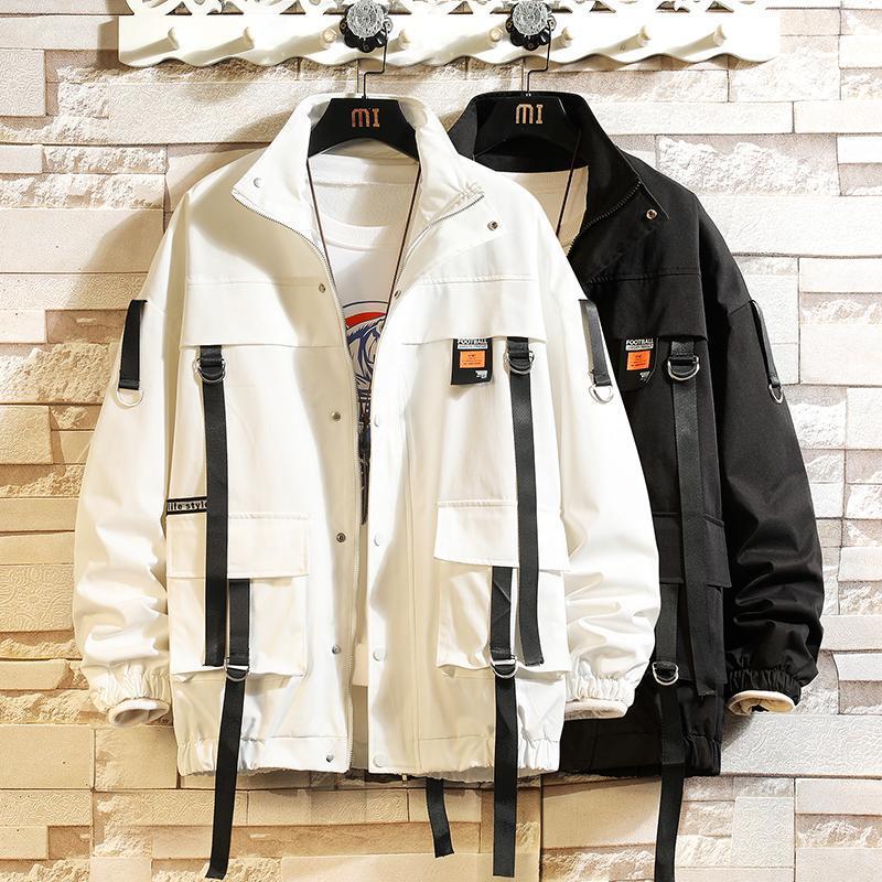 Men's Jackets Cardigan Varsity 2021 Spring Autumn Black White Jacket Streetwear Baseball Uniform Bomber Clothes OverSize 5XL 6XL 7XL