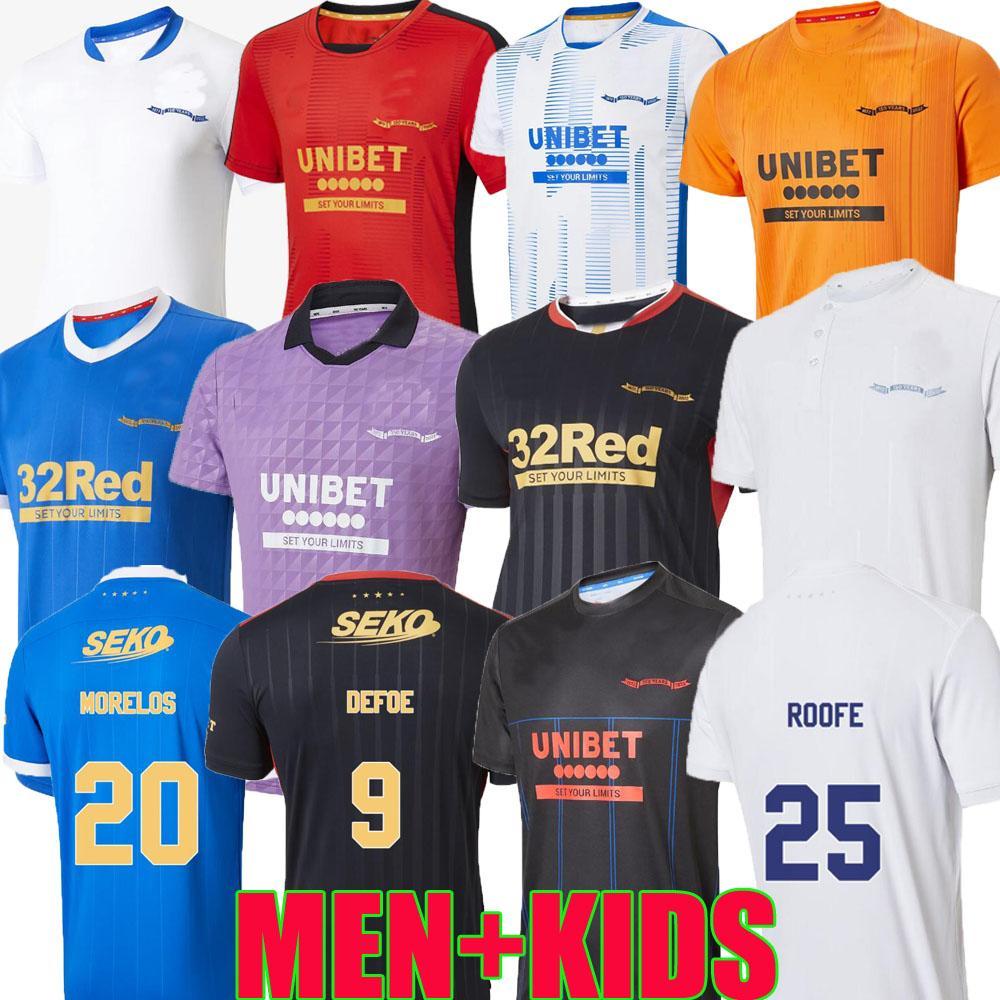 Rangers Fussball Jerseys 21 22 150. Jubiläum Special Glasgow Training Dacher Defoe Hagi Barker Morelos Tavernier Kent 2021 2022 Arfielo Football Shirt Männer + Kinder Kit