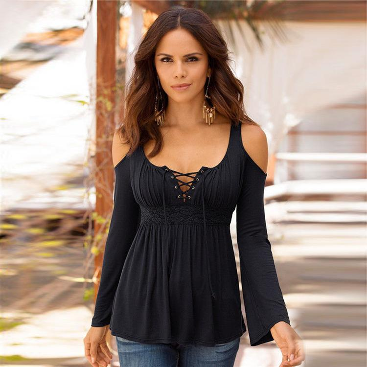 5XL Frauen T-shirt Ärmel Schulter V-ausschnitt Weiß Schwarz T-shirt Weibliche lässige Herbst sexy Tops Plus Größe 4XL Frauen Frühling lang