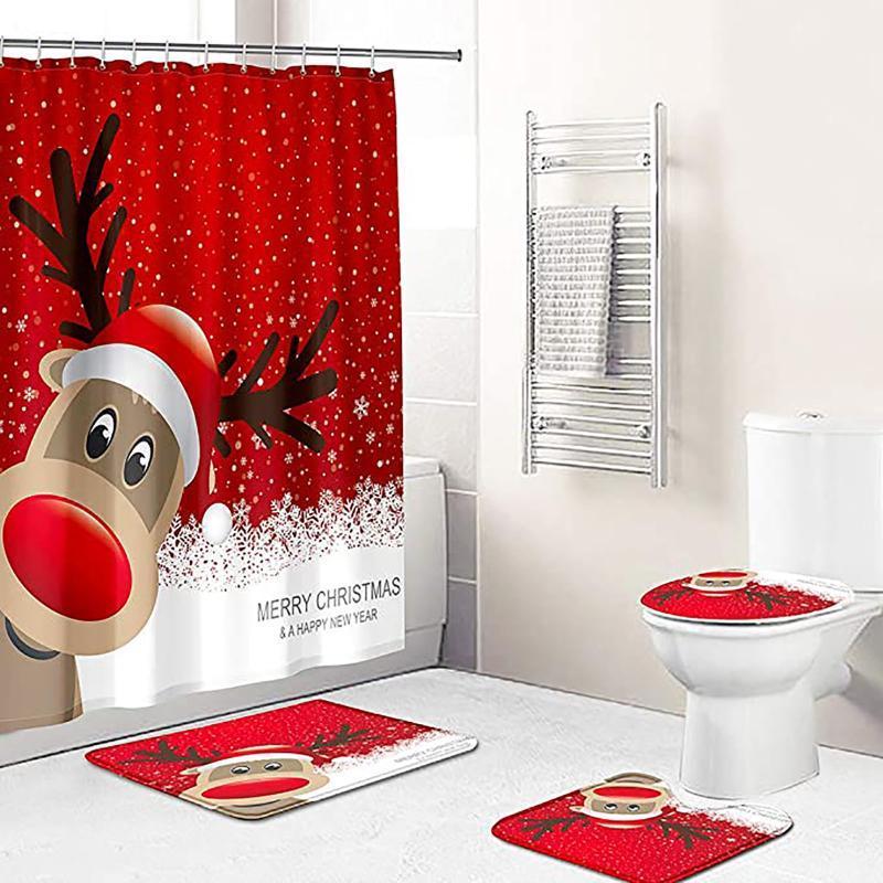 Duschvorhänge Weihnachtsvorhang Badezimmer Anti-Rutsch Teppichdecke WC-Abdeckmatte Set Luxuriöse und Kissenboden 4 stücke