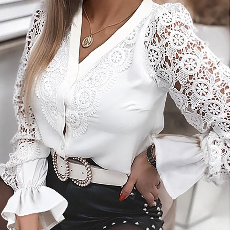 Women's Blouses 2021 hollow lace high neckline autumn women casual Long Sleeve Shirt