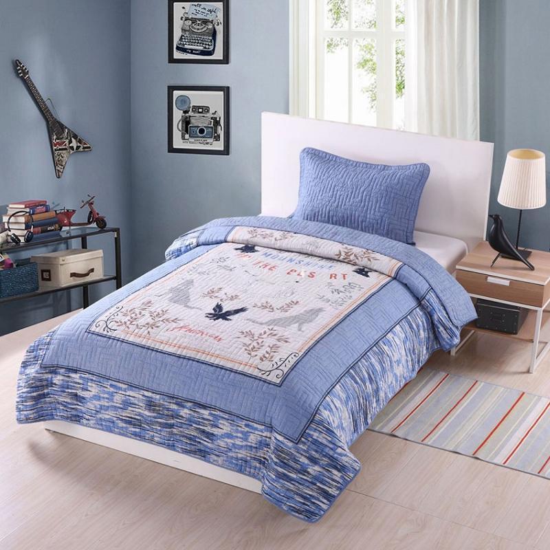 Bettdecken Sets Chauub Kinder BettSpread Quilt Set 2 teile / 3 stücke Gedruckt Gespendete Baumwolle Quilts Bettbezug Kissenbezug Twin Queen Size-Boy's Coverle