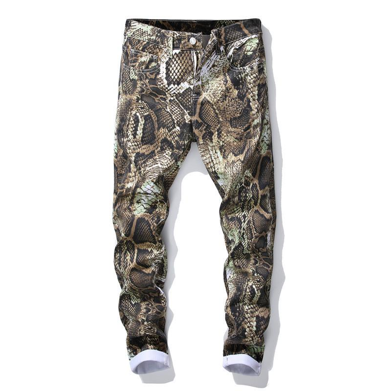 Mode Herren Casual Hose Slim Leggings Gedruckt Muster Casual Hosen Männer