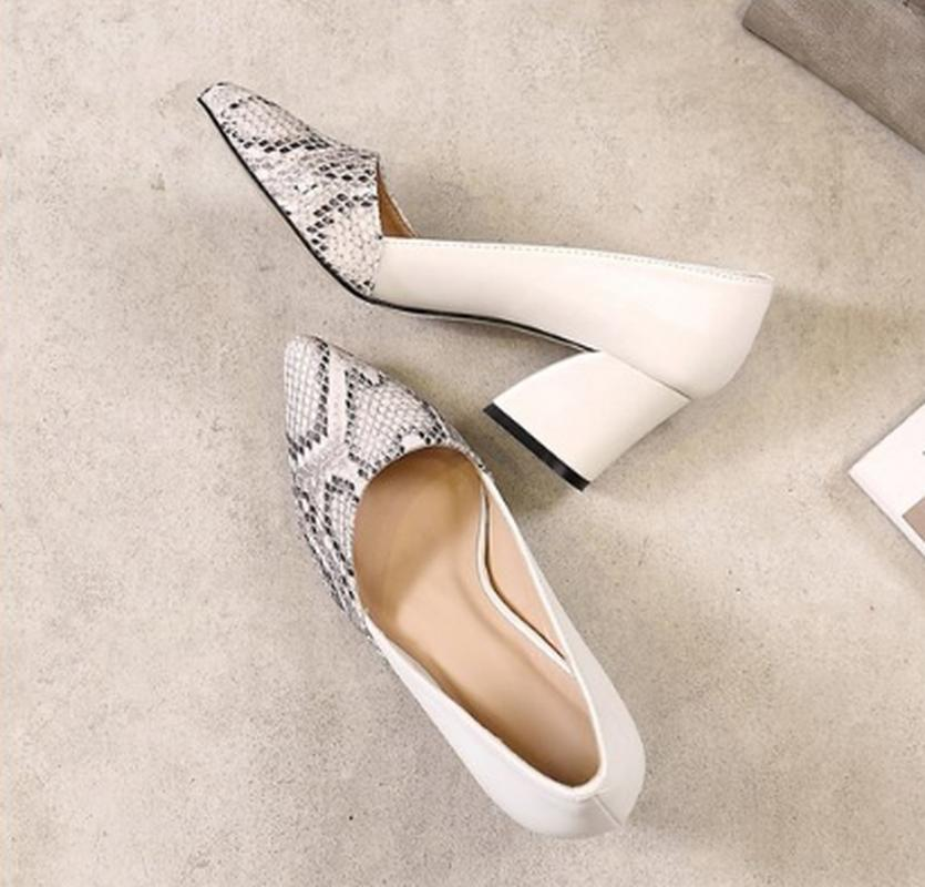 Nice Snakeskin Pointed Toe Shallow Women's Shoes Fashion Summer Outdoor Wedding Party Roman Style High Heels Zapatos De Mujer SDF432