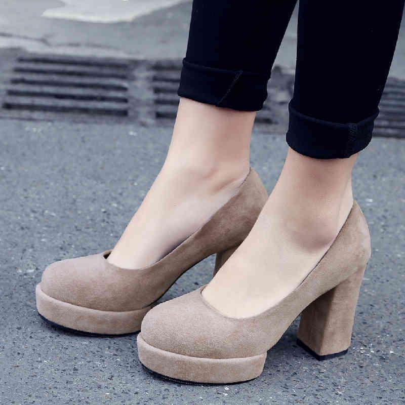 Fashion Suede Women Pumps Shoes Khaki Grey Block High Heels Platform Wedding Working Party Woman Spring 210521
