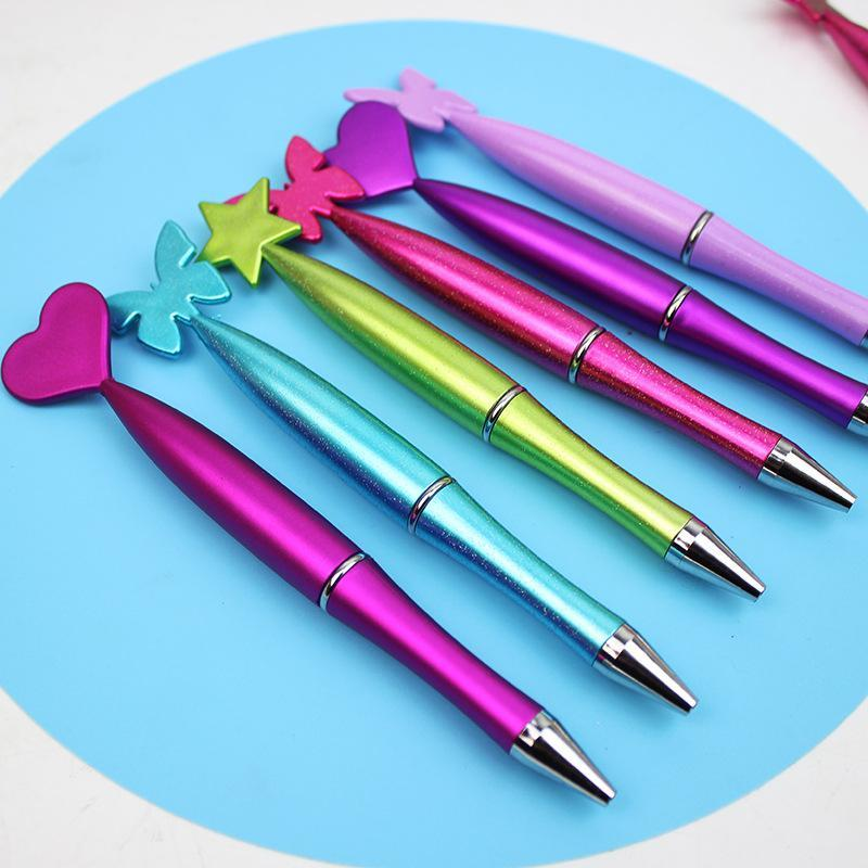 Ballpoint Pens Business Pen Love Butterfly Star Shaped Rotary Rotating Oil Office Supplies Cute School