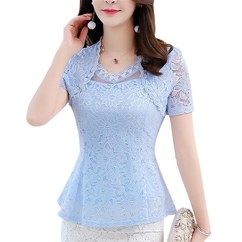 Blusas Kısa Kollu M-4XL Artı Boyutu 8 Renk Yeni Yaz Dantel Gömlek Kadınlar Tops Ince Zarif Dantel Kadın Bluz Gömlek 815G 210323