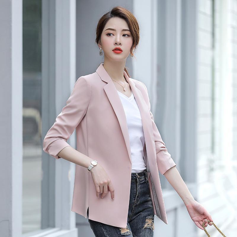 Fashion OL Slim Casual Long Sleeve Blazer Feminino Women Black&pink Blazers And Jackets Tops Suit Single Buckle Female Outwear Women's Suits