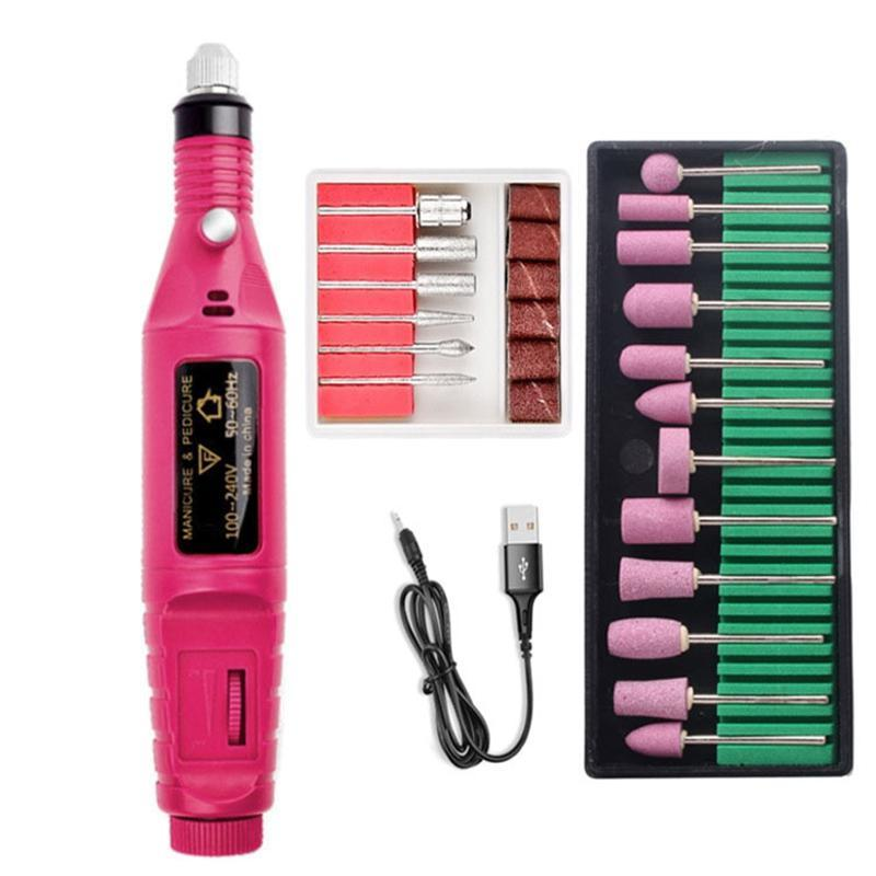 Nail Art Kits Electric Manicure Drill Polish Gel Remover Machine File Set 20000Rpm UV Polishing Tools