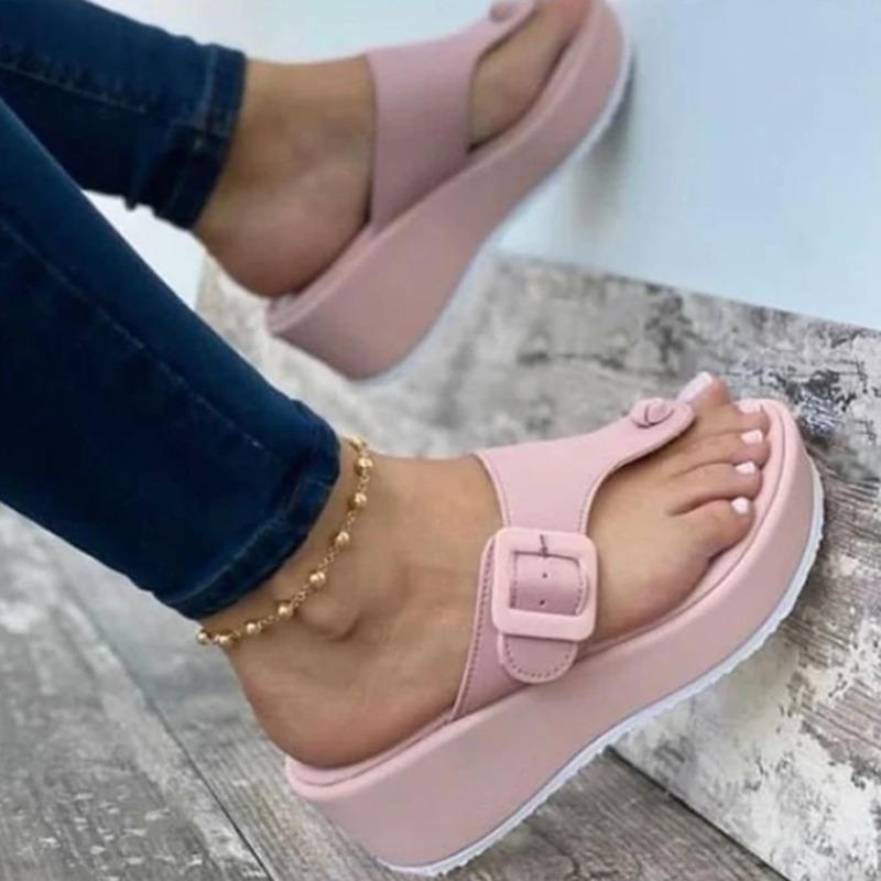 여성 비치 플랫폼 슬리퍼 PU 가죽 샌들 숙녀 야외 여름 두꺼운 하단 슬라이드 도매 2021 신발