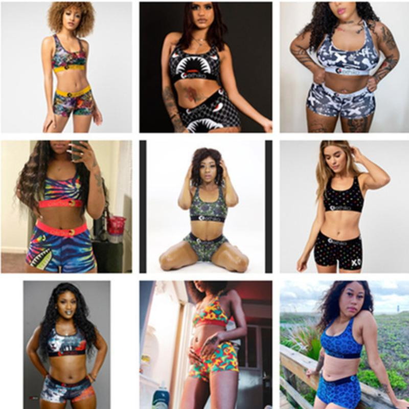 Ethika Women fashion Swimsuit Crop Top Vest + Swim Shorts Trunks Boxers 2 Piece Set Tracksuit Patchwork Shark Camo Swimwear Bikini 2021