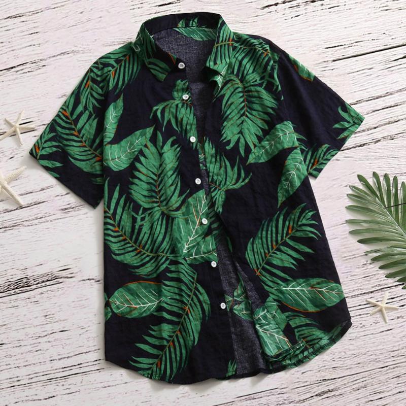 Männer Lässige Hemden Männer Sommer Hawaiian Aloha Blattdruck Strand Tragen Kurzarm Tops Lose Umdrehende Kragen Grundknopf Hemd