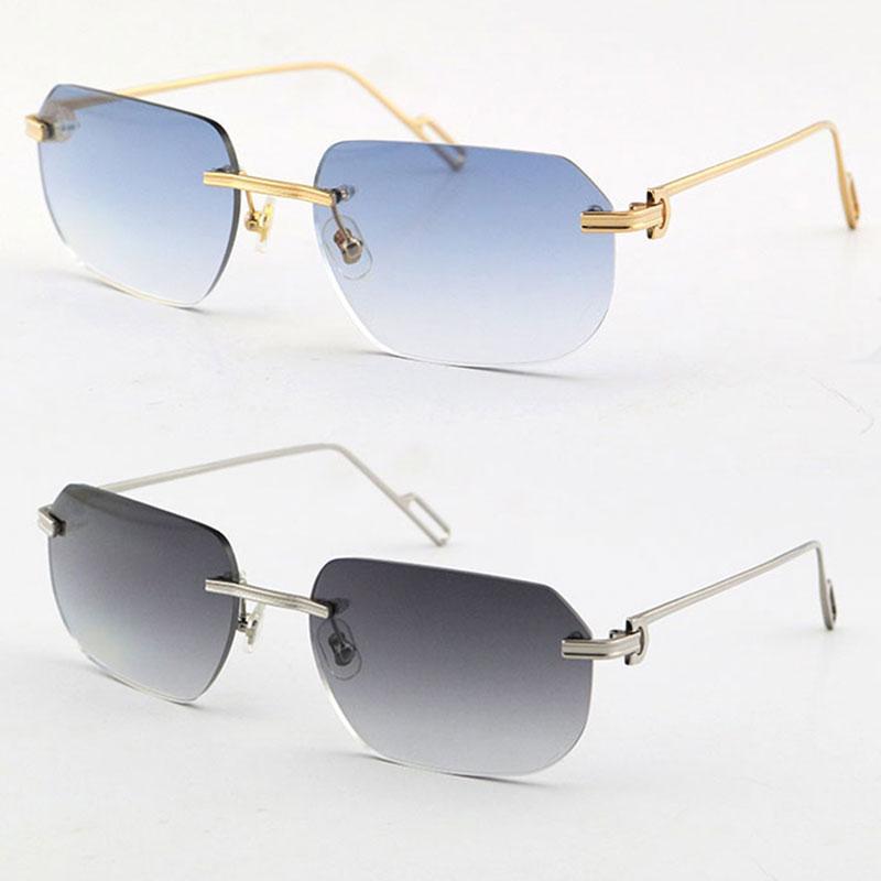 Vendendo moda óculos de sol de metal uv400 proteção sem aro 18k macho de ouro e fêmea sol óculos escudo retro design monóculos moles homens