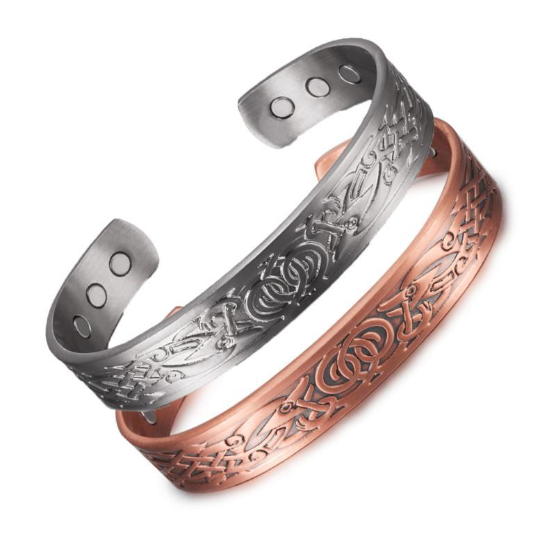 Viking Bilezik Kadınlar Için Erkekler Saf Bakır Ayarlanabilir Vintage Enerji Manyetik Manyetik Mantı 12mm Geniş Ejderha Bilezik Bilezik Bileklik