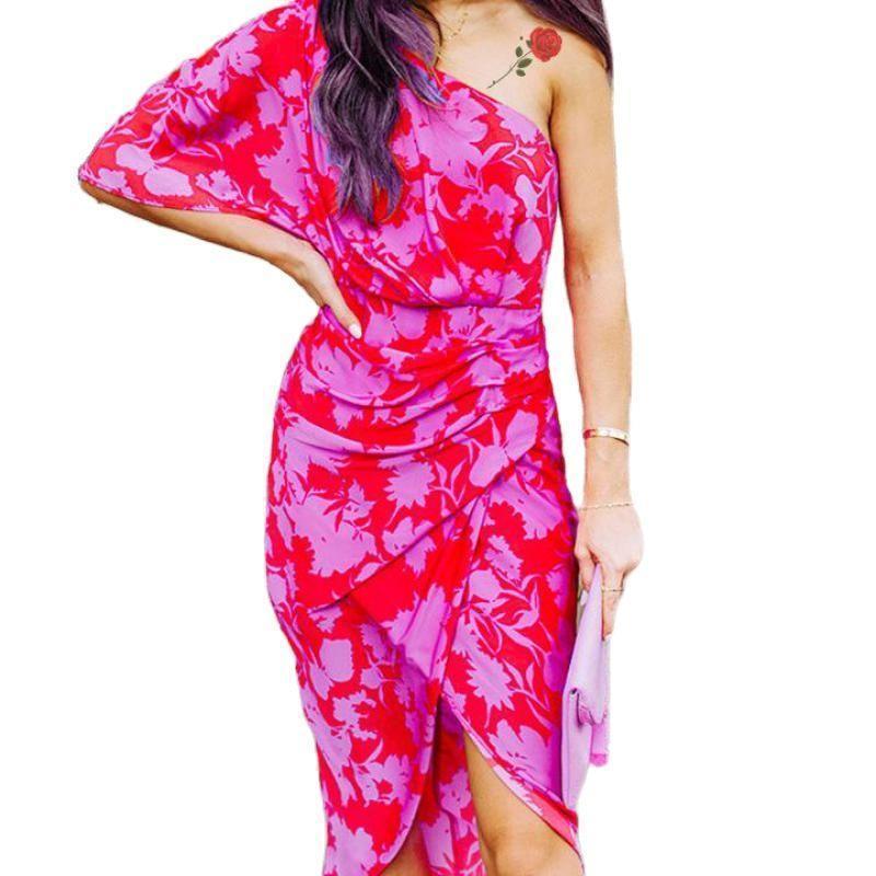 Повседневные платья 2021 европейское и американское платье модное платье плечо тонкая шнурок печать Сплит сексуальный праздник