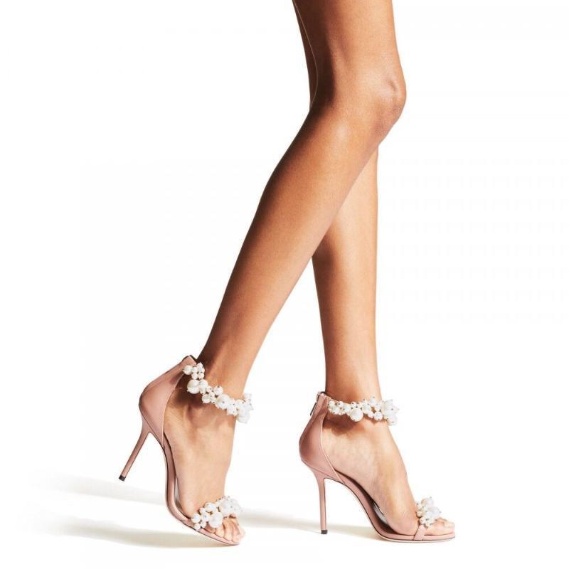 Sandals Women Fashion Peep Toe Pearl Rhinestone High Heels Zipper Stiletto Wedding Summer Shoes For Sandalias De Mujer