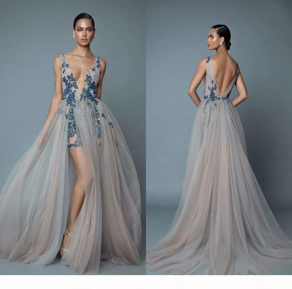 Berta Formale Kleider Party Tragen Abendkleider Günstige Abschlussballkleid Pageant Kleider Spitze Vestidos de Noiva V-Ausschnitt Side Split