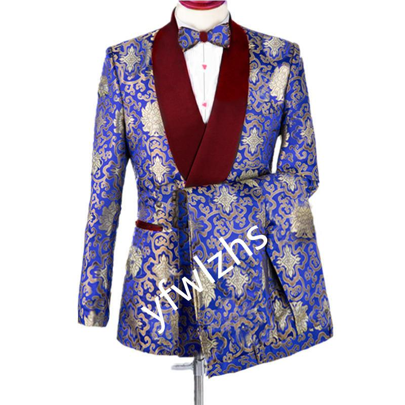 Classic Peak Vapel Groomsmen Portez deux boutons Groom Tuxedos Hommes Costumes Mariage Prom Dink Man Blazer (veste + pantalon + cravate)