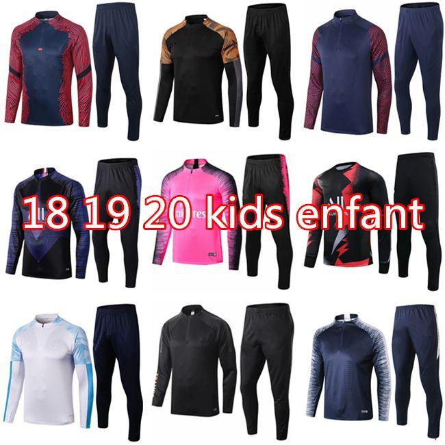 18 19 20 레알 마드리드 키즈 축구 트랙 슈트 키트 MBappe enfant 2021 훈련 정장 트랙스 생존 아동 보조물