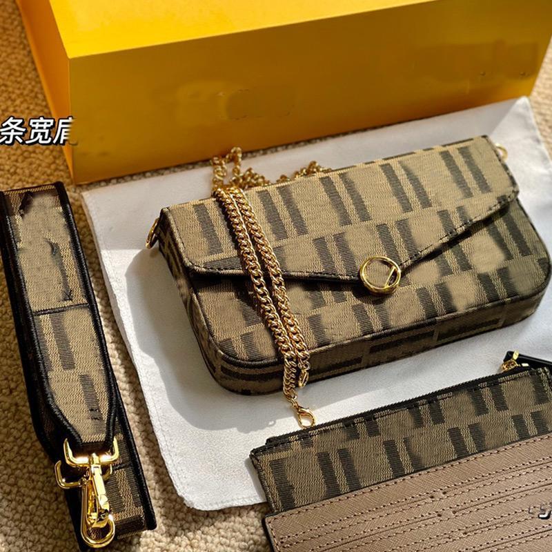 Women Handbag Purse 3pcs Set Chain Crossbody Bags Wallets Envelope Messenger Bag Fashion f letter Canvas Clutch Lady Tote Detchable Two Shoulder Strap Handbags