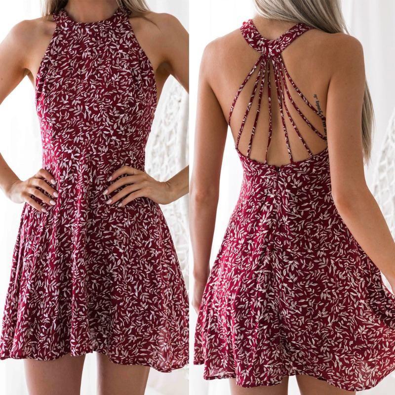 Femmes Boho Beach Summer Holiday Tumblr Sundress Halter Floral Mini robe Mesdames Slim Slim Vestido Playa Maillot de bain pour femmes