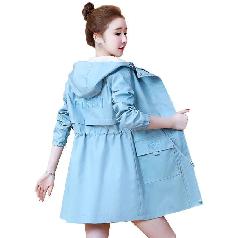 Women's Trench Coats Women Windbreaker Autumn Long Sleeve Casual Hooded Coat Famale Loose Plus Size Ladies Outerwear A391