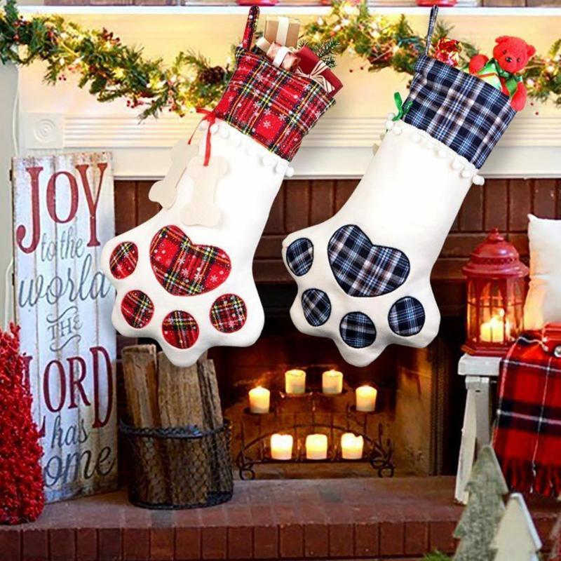 Decoraciones navideñas Cat Etiving Cat Dog Gat Dog Bolsa Soporte de Navidad Ornamentos Decoración Decoración Candy Candy