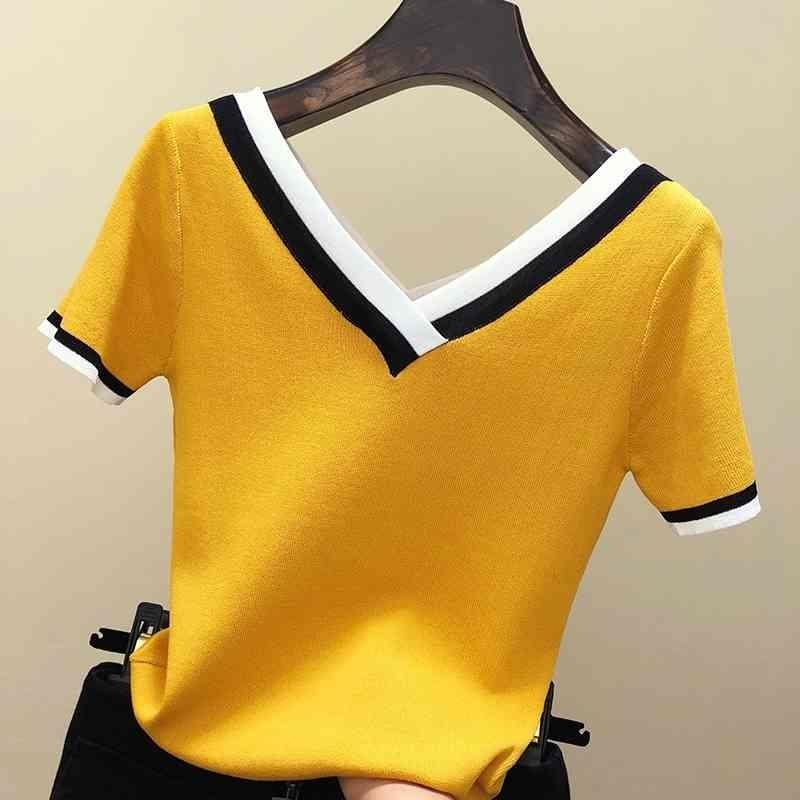 V-pescoço camiseta camiseta mulheres tshirt cor contraste listrado de malha de malha t-shirt t-shirt mulher roupa camiseta femme camisetas mujer 210322