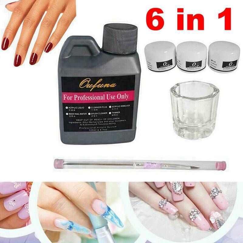 Nail Art Kits 6 In 1 Kit Acrylic Liquid Powder Pen Manicure Brush & Glass Dappen Dish Tools Set For Beauty DIY